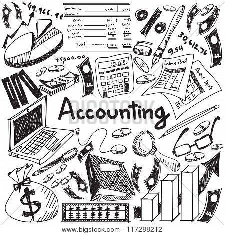 Accounting And Financial Education Handwriting Doodle Icon Of Banknote, Money, Balance Sheet And Cos