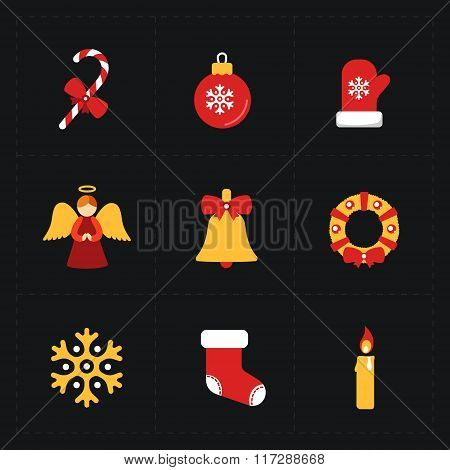 Christmas flat golden icons