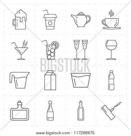 sixteen modern flat bar icons