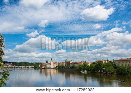 View of Vltava river in Prague