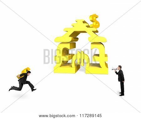 Businessman Yelling Another Carrying Usd Running For Money Stacking Building