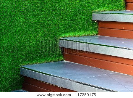 Stairway Tile  And Artificial Grass Wall