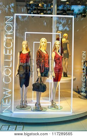 PARIS, FRANCE - AUGUST 09, 2015: mannequines in shop window. Paris, aka City of Love, is a popular travel destination and a major city in Europe