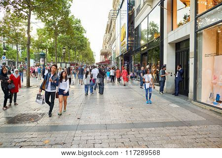 PARIS, FRANCE - AUGUST 09, 2015: Paris streets. Paris, aka City of Love, is a popular travel destination and a major city in Europe