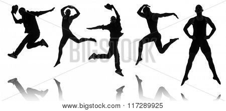 Silhouettes of dancers in dancing concept
