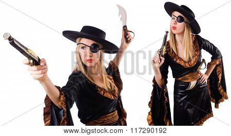 Woman pirate in various poses on white