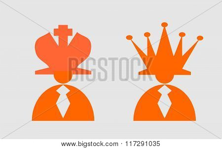 Businessmans With Hat As Chess King And Queen. Leadership Metaphor