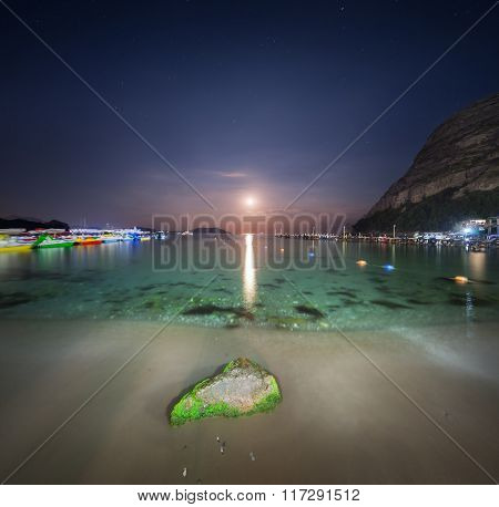 Night Landscape At The Seashore With Stone And Lunar Path