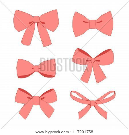 Set of pink vintage gift bows wih ribbons.