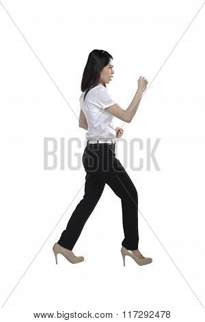 Asian Business Woman Doing Fight Stance