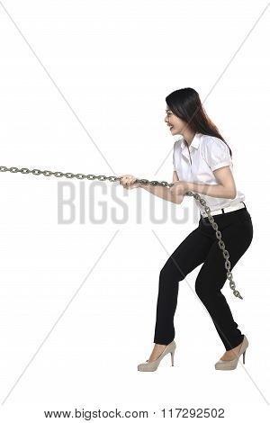 Asian Business Woman Pulling Chain
