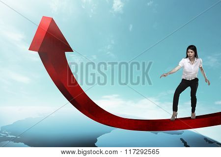 Business Woman Balancing Increasing Chart