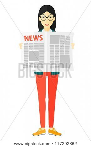 Reporter reading newspaper.