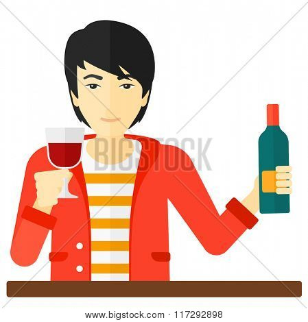 Cheerful man with bottle and glass.