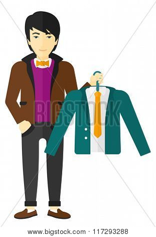Man holding jacket.