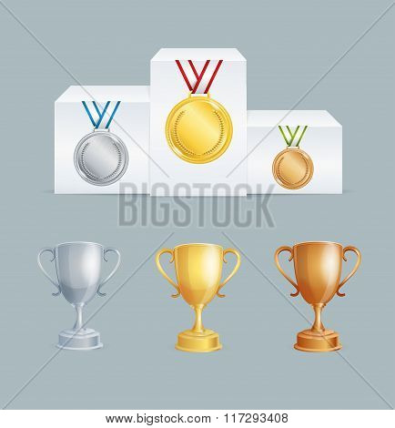 Cup and Medal Award Set. Vector