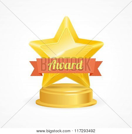 Gold Star Award. Vector