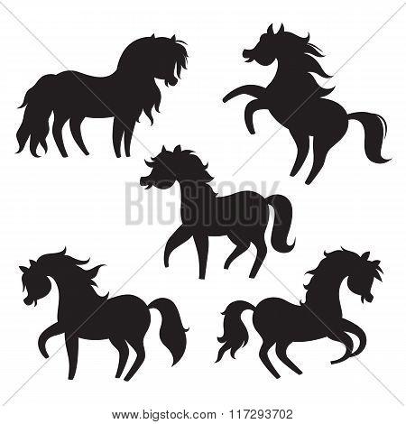 Cartoon horses silhouettes on white background.