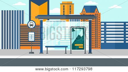 Background of bus stop with skyscrapers behind.