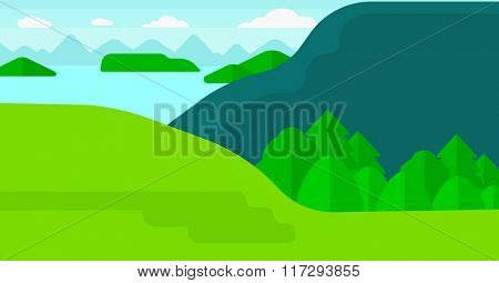 Background of landscape with mountains and lake.