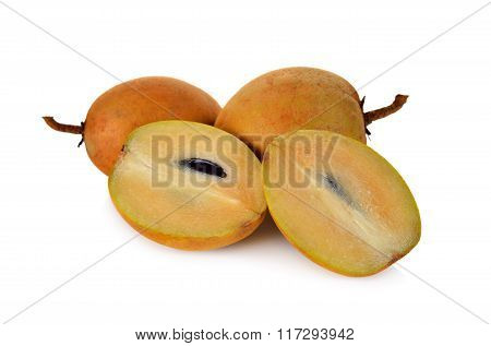 Ripe Sapodilla Fruit With Stem On White Background