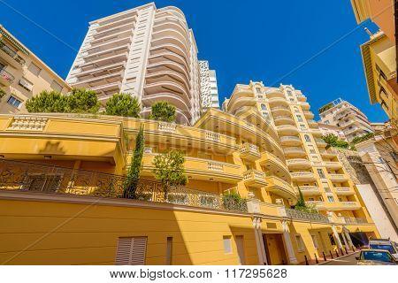 Sunny building decorated on a street in Monaco-ville, Monaco
