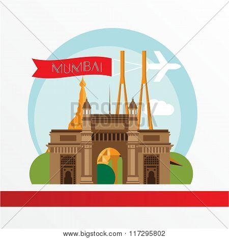 Mumbai, detailed silhouette. Trendy vector illustration, flat style.