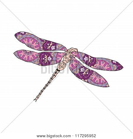 Vector illustration of stylized dragonfly isolated on white