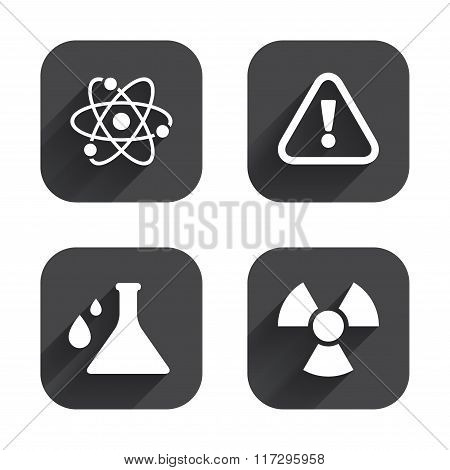Attention radiation icons. Chemistry flask.