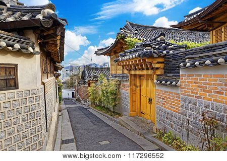 Bukchon Hanok Historic District at Seoul , South Korea