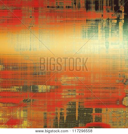Vintage aged texture, colorful grunge background with space for text or image. With different color patterns: yellow (beige); brown; red (orange); green; black