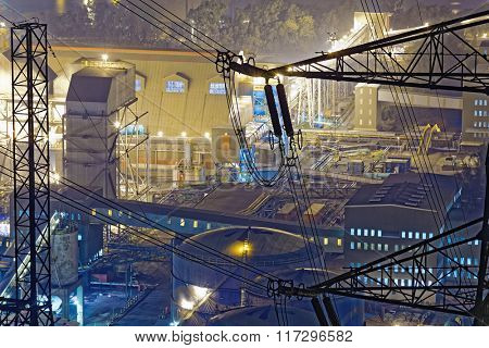 power station at night with smoke , hong kong