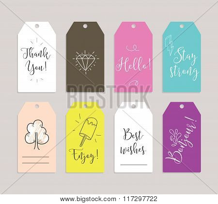 Set of labels, stickers or tags. Cards for journaling. Inspirational quotes. Usable as invitations,