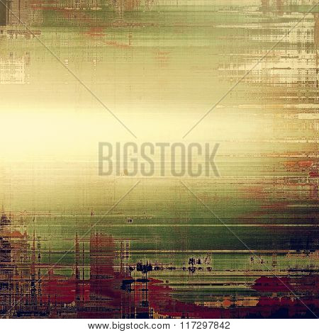 Old vintage background with retro-style elements and different color patterns: yellow (beige); brown; green; purple (violet); gray