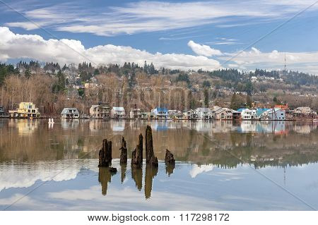 Floating Houses Along Willamette River