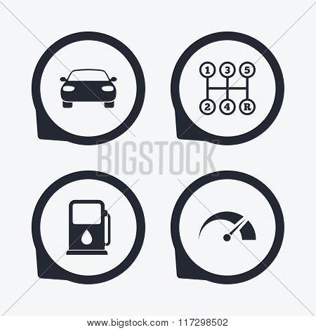 Transport icons. Tachometer and petrol station.