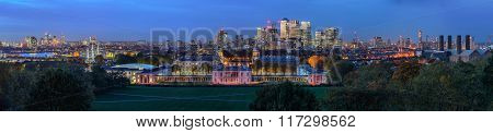 Night Panoramic View To Greenwich And Canary Wharf In London