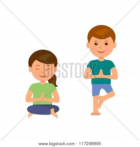 Yoga kids. Gymnastics for children and healthy lifestyle. Isolated children's characters involved in