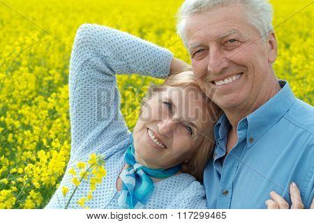 senior couple  in summer field
