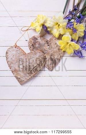 Sweet Yellow And Blue Spring Flowers And  Two Decorative Hearts