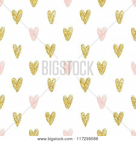 Seamless polka dot gold hearts pattern