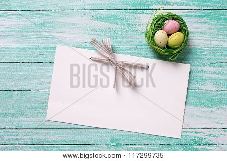 Decorative Easter Eggs And Empty Tag