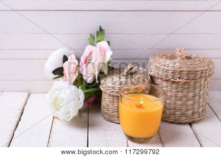 Postcard With Elegant  Flowers And Candle.