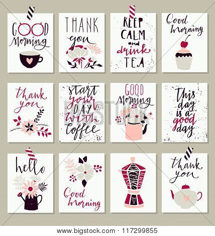 Collection of 12 cute good morning card templates.