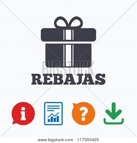 Rebajas - Discounts in Spain sign icon. Gift.