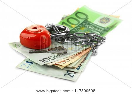 Euro banknotes with lock and chain, isolated on white