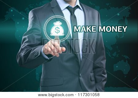 business, technology, internet concept - businessman pressing make money button on virtual screens
