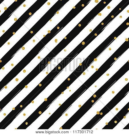 Gold glittering confetti seamless pattern on striped background