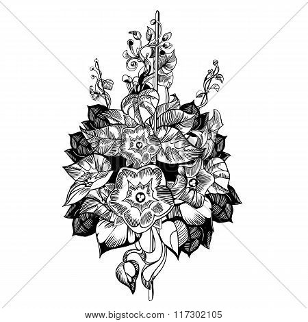 Climb flower vector. Floral, monochrome, vintage vector background.