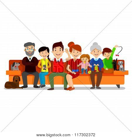 Big Happy Family sit on sofa. Parents with Children. Father, mother, children, grandpa, grandma, dog